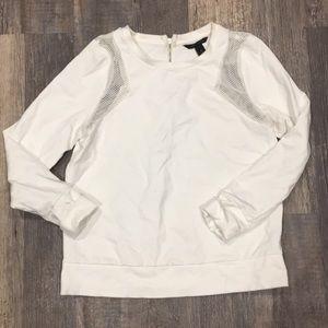 BANANA REPUBLIC White Mesh CO Shoulder Sweatshirt